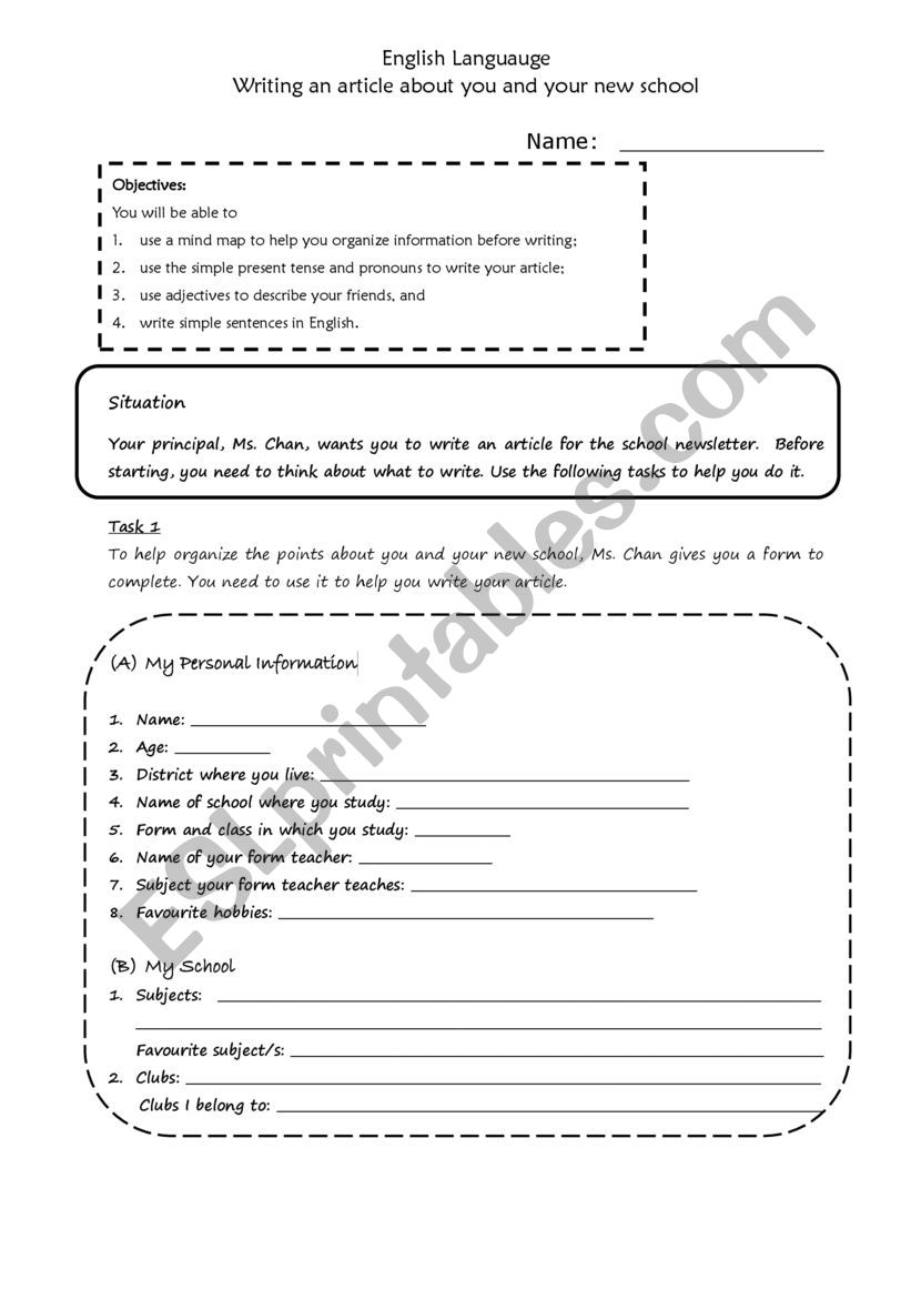 Writing about my school and myself - ESL worksheet by cecibubble