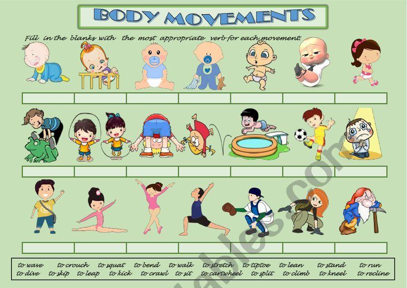 Body Movements Exercise Esl Worksheet By Aisha77