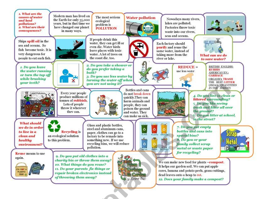 Water and land pollutions worksheet