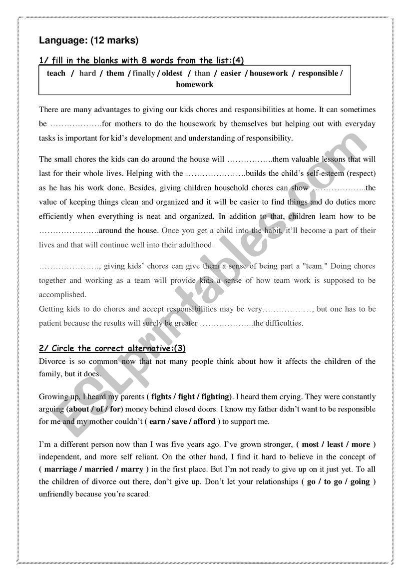mid term test 9 worksheet