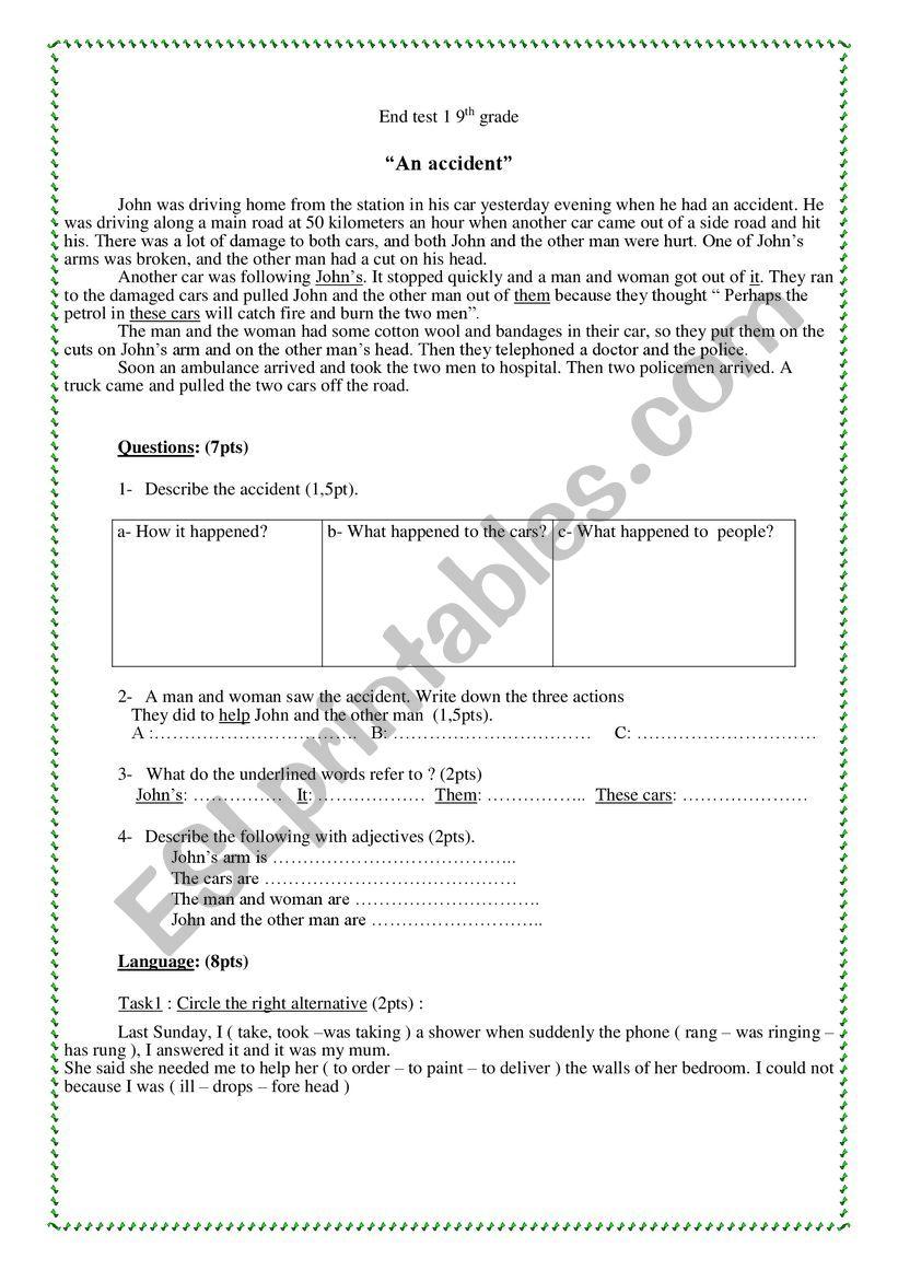 end of term test 1 9th gradr worksheet