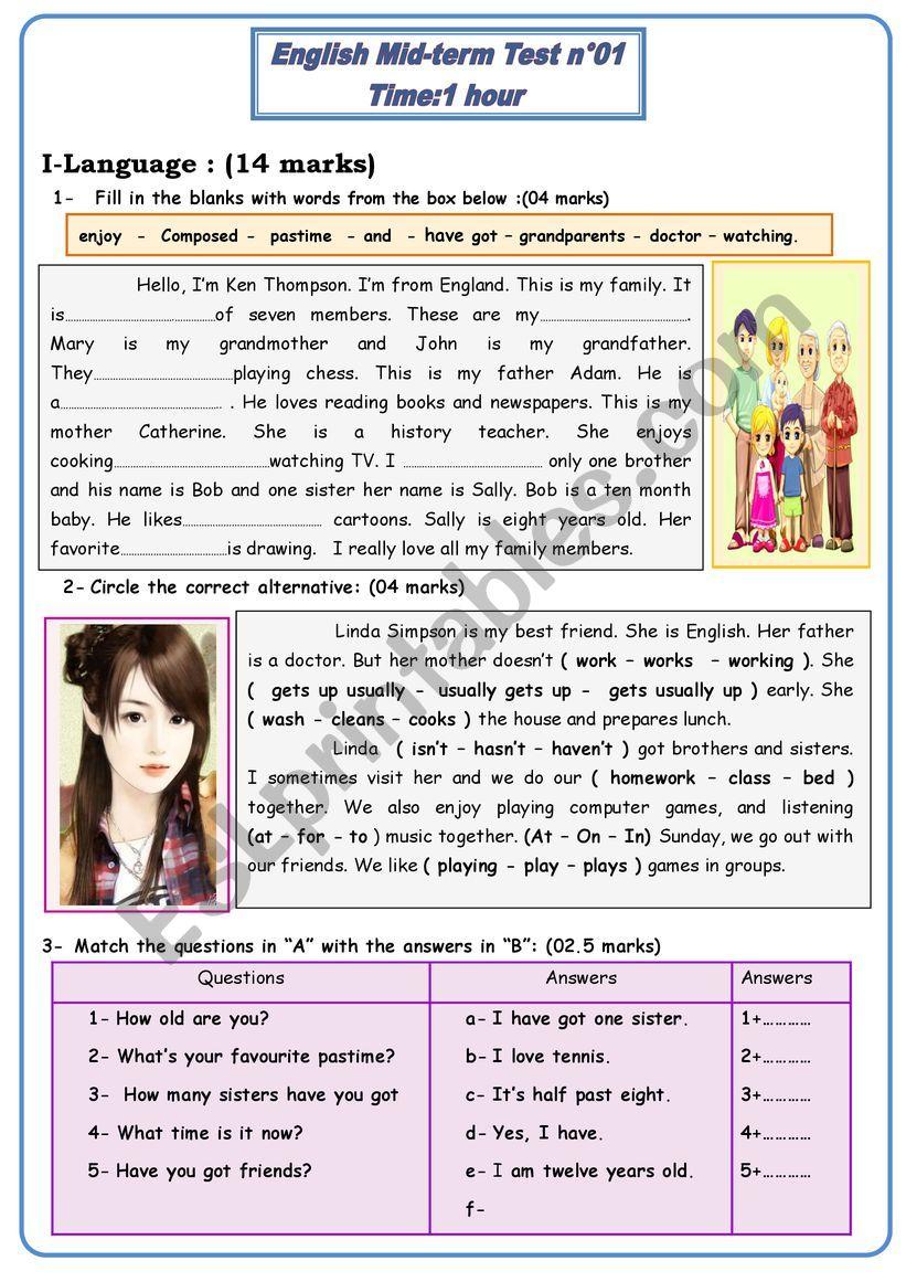 mid term test 1 -7th basic worksheet