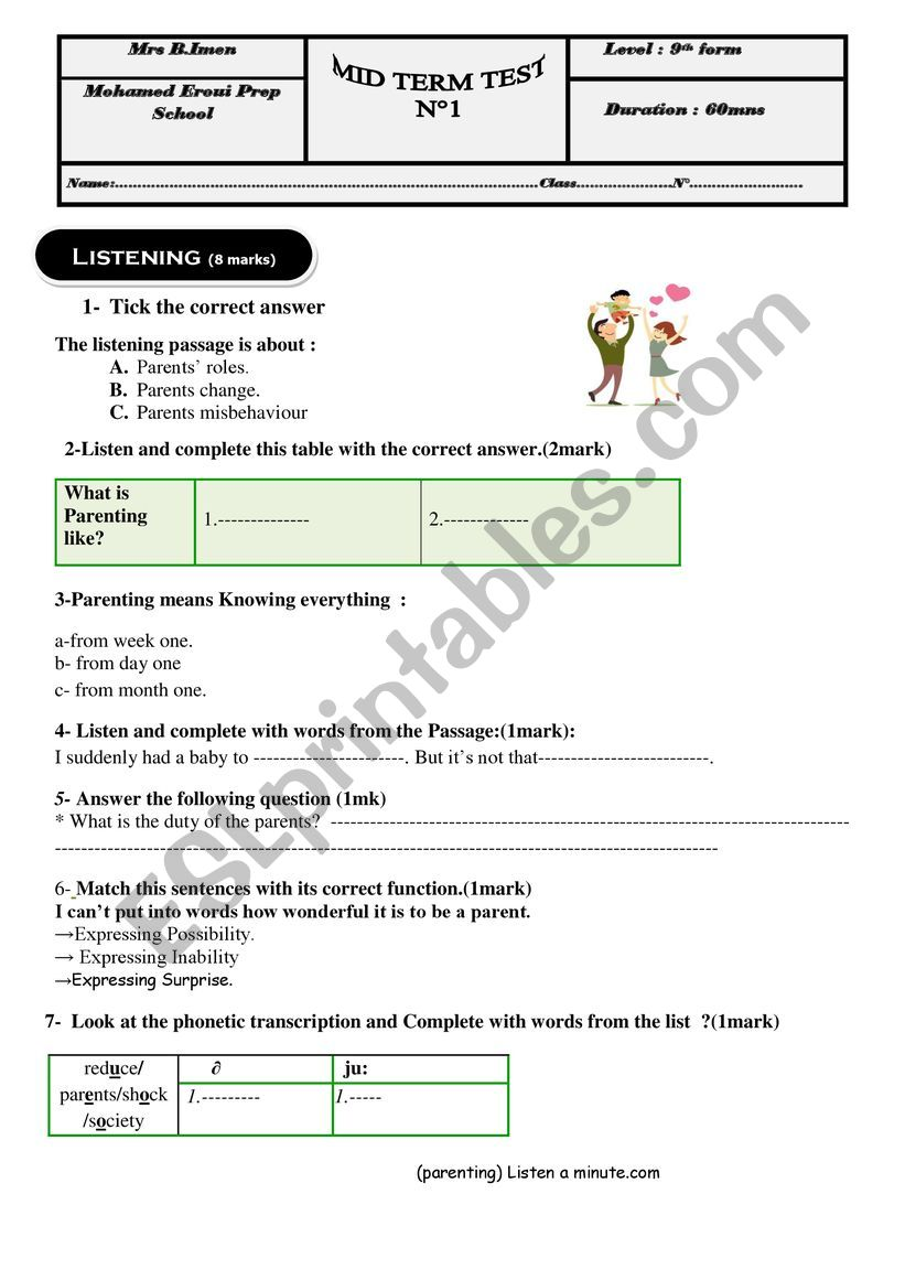 English test n1 worksheet