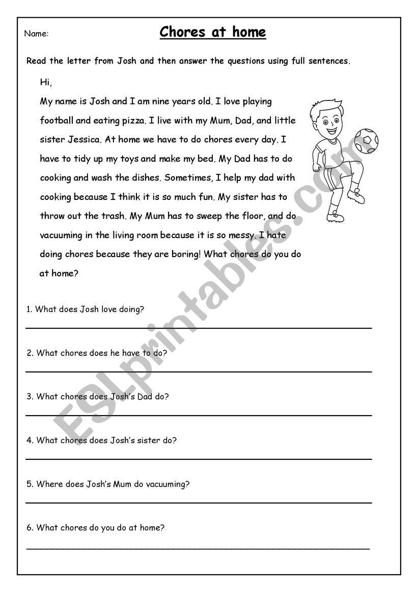 - Chores Reading Comprehension - ESL Worksheet By Zxulu