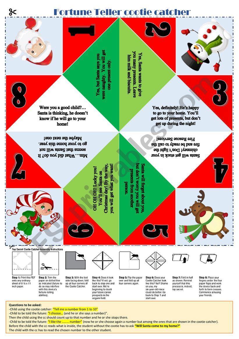 Christmas Cootie Catcher Esl Worksheet By Aisha77