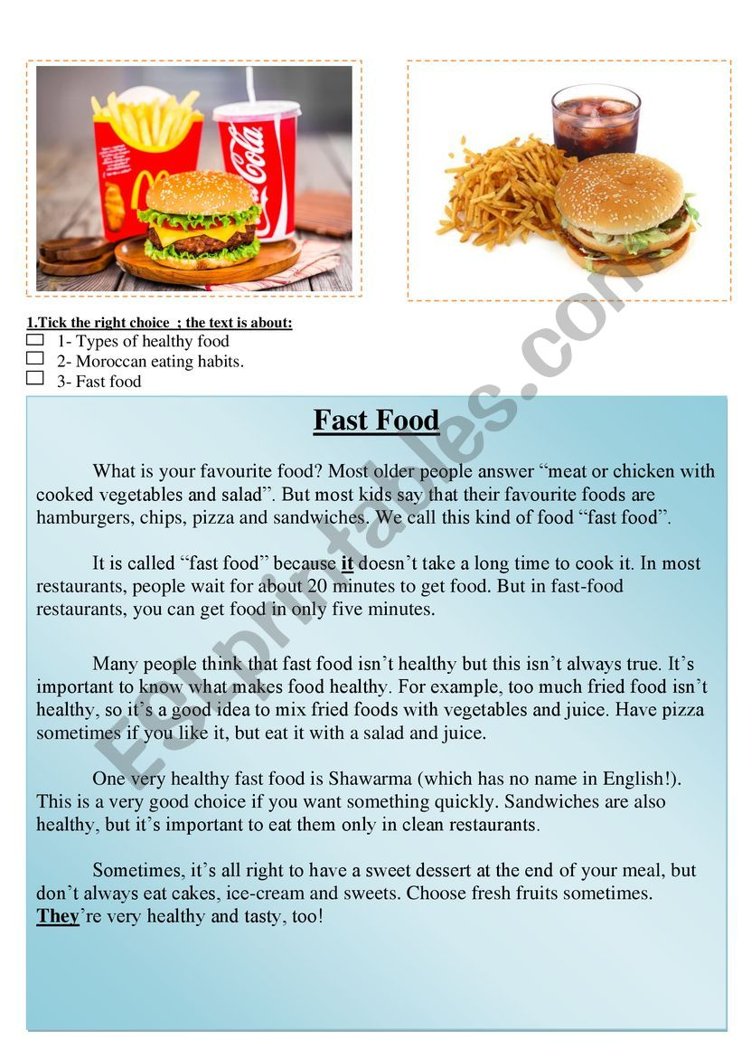 Fast Food Reading Comprehension Healthy Food Esl Worksheet By Abdelatif Mouyssa