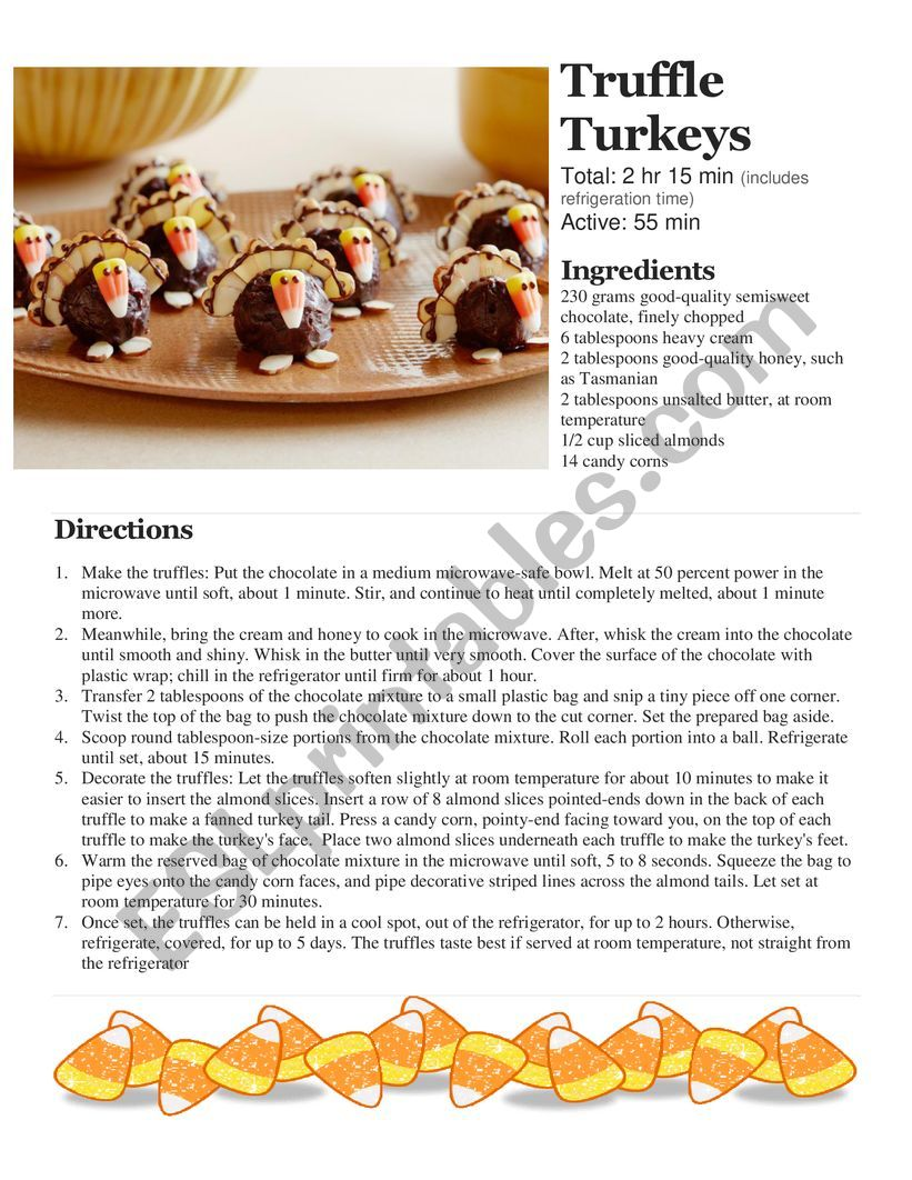 Class Cooking - Microwave Only - No cooking required - Thanksgiving Truffle Turkeys