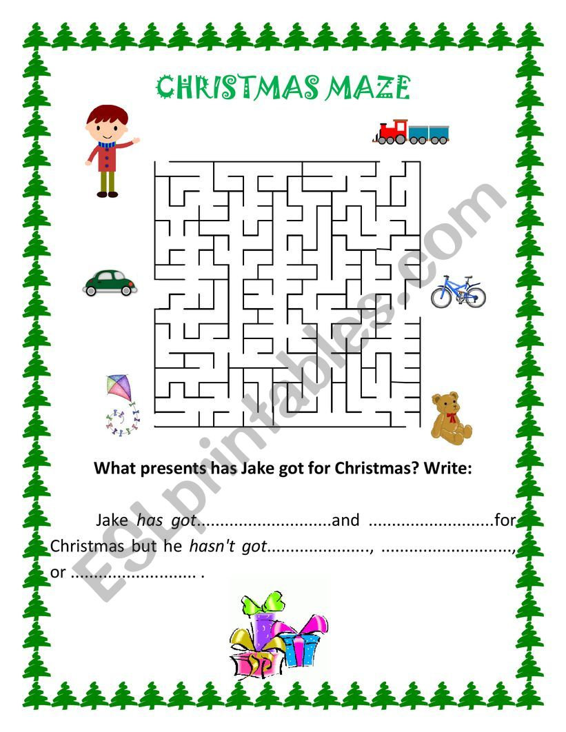 CHRISTMAS MAZE - ESL worksheet by IRINA DUMITRASCU