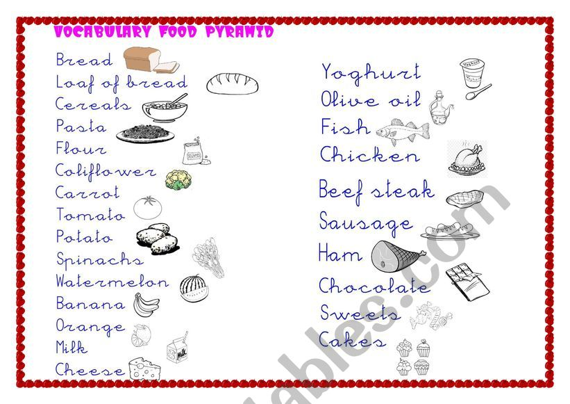 Food Pyramid For Primary Esl Worksheet By Gaia3ciclo