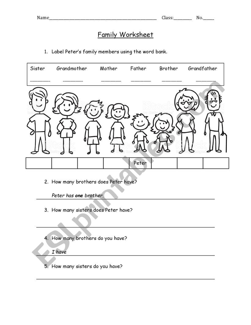 Family Tree Esl Worksheet By Louaybelghaieb