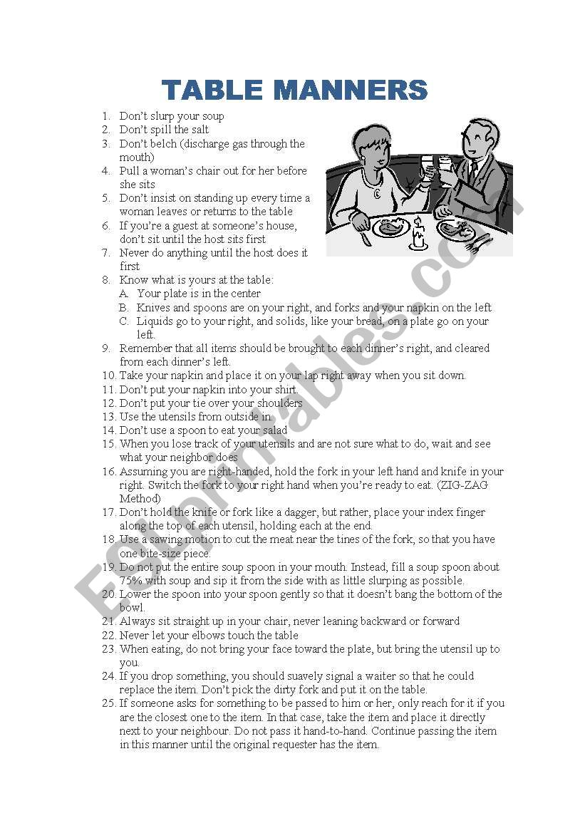 Table Manners Esl Worksheet By Mcmteacher