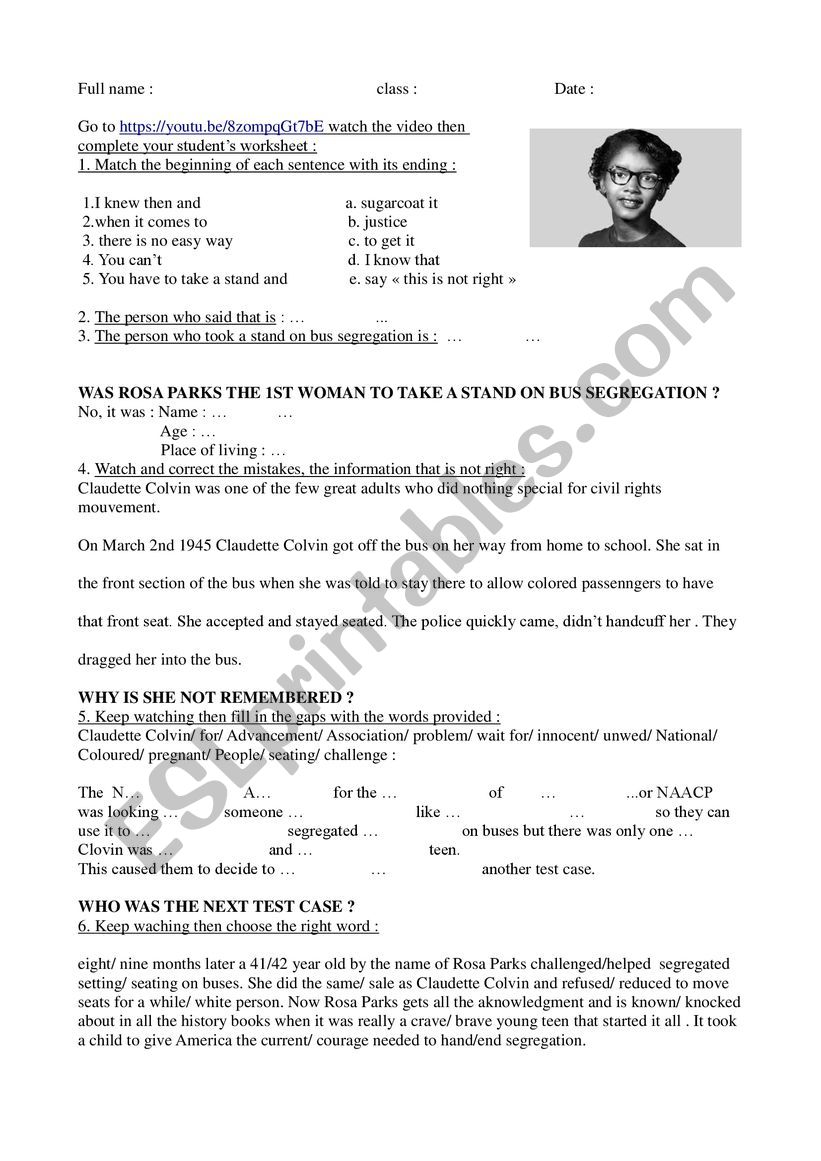The story of Claudette Colvin worksheet