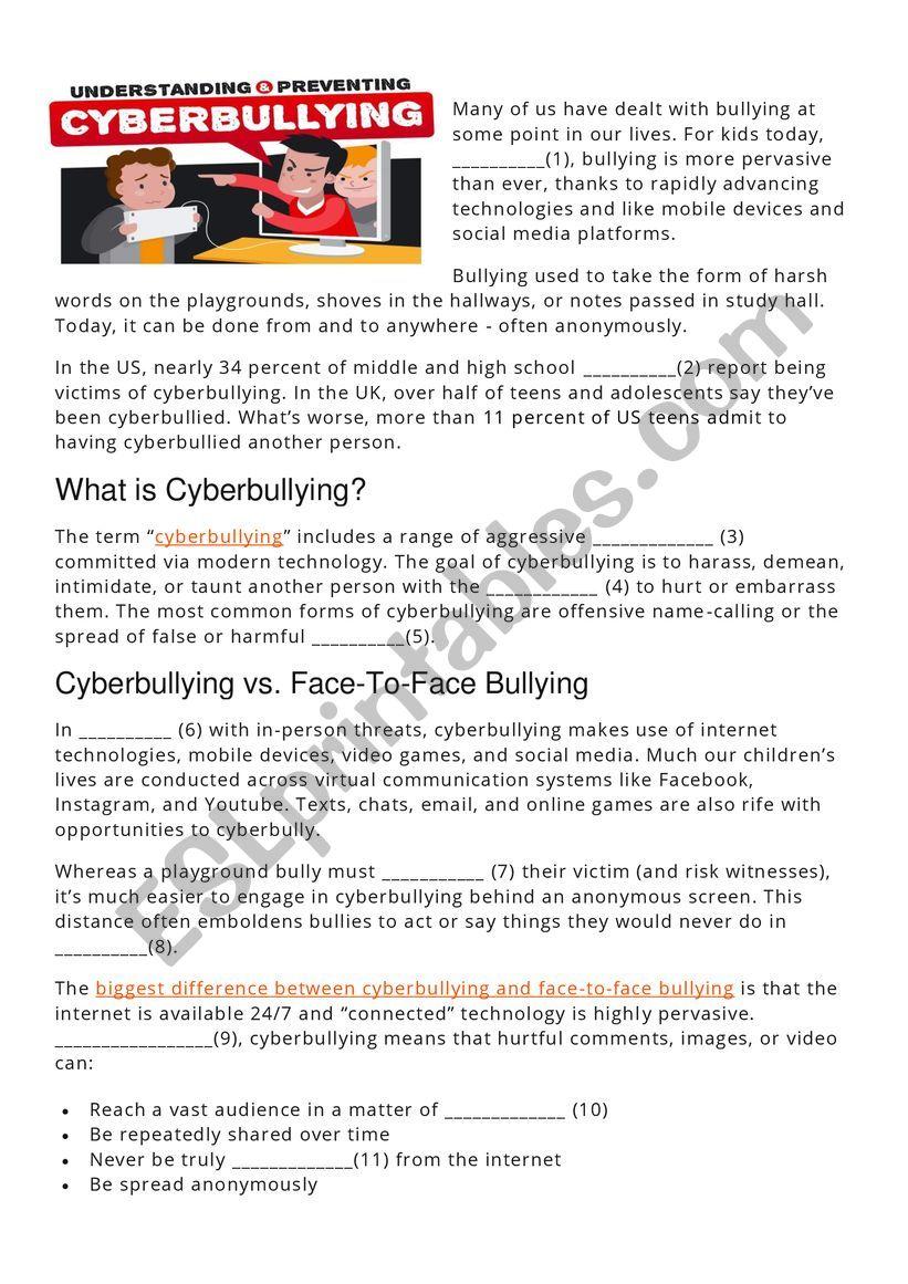 CYBERBULLYING (reading comprehension, gap fill)