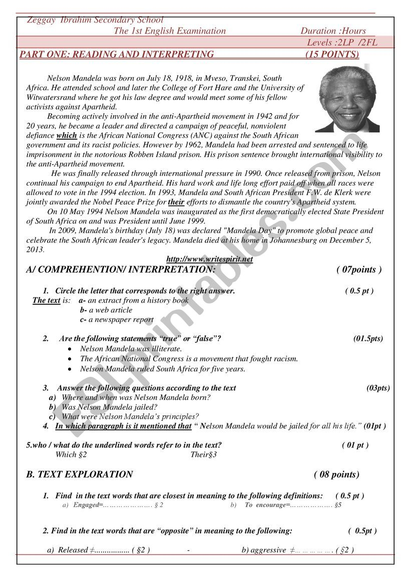 biography of Nelson Mandela worksheet