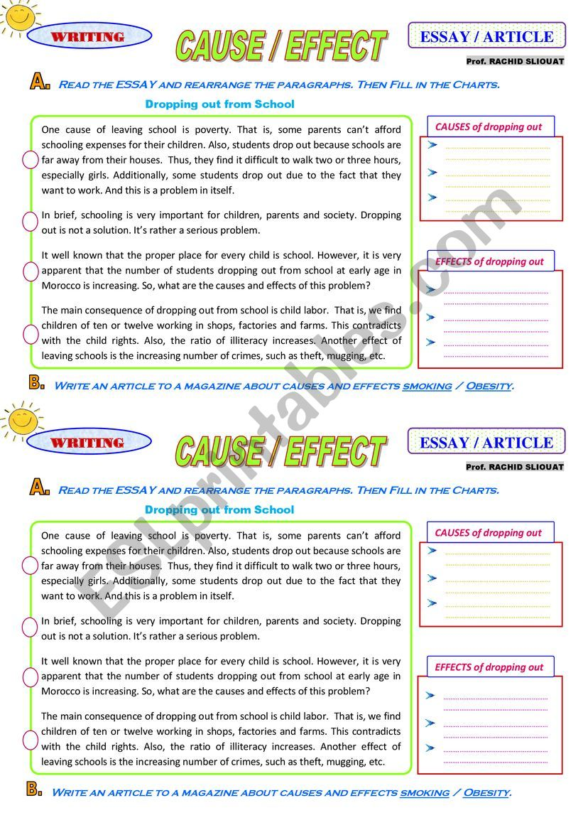 Cause-Effect Essay / Article - ESL worksheet by rsliouat