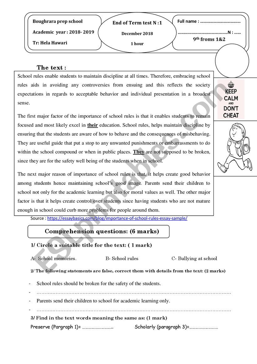 Full-Term-test N°1 9th forms worksheet