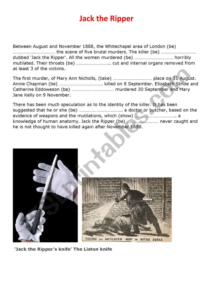 Who was Jack the Ripper? worksheet