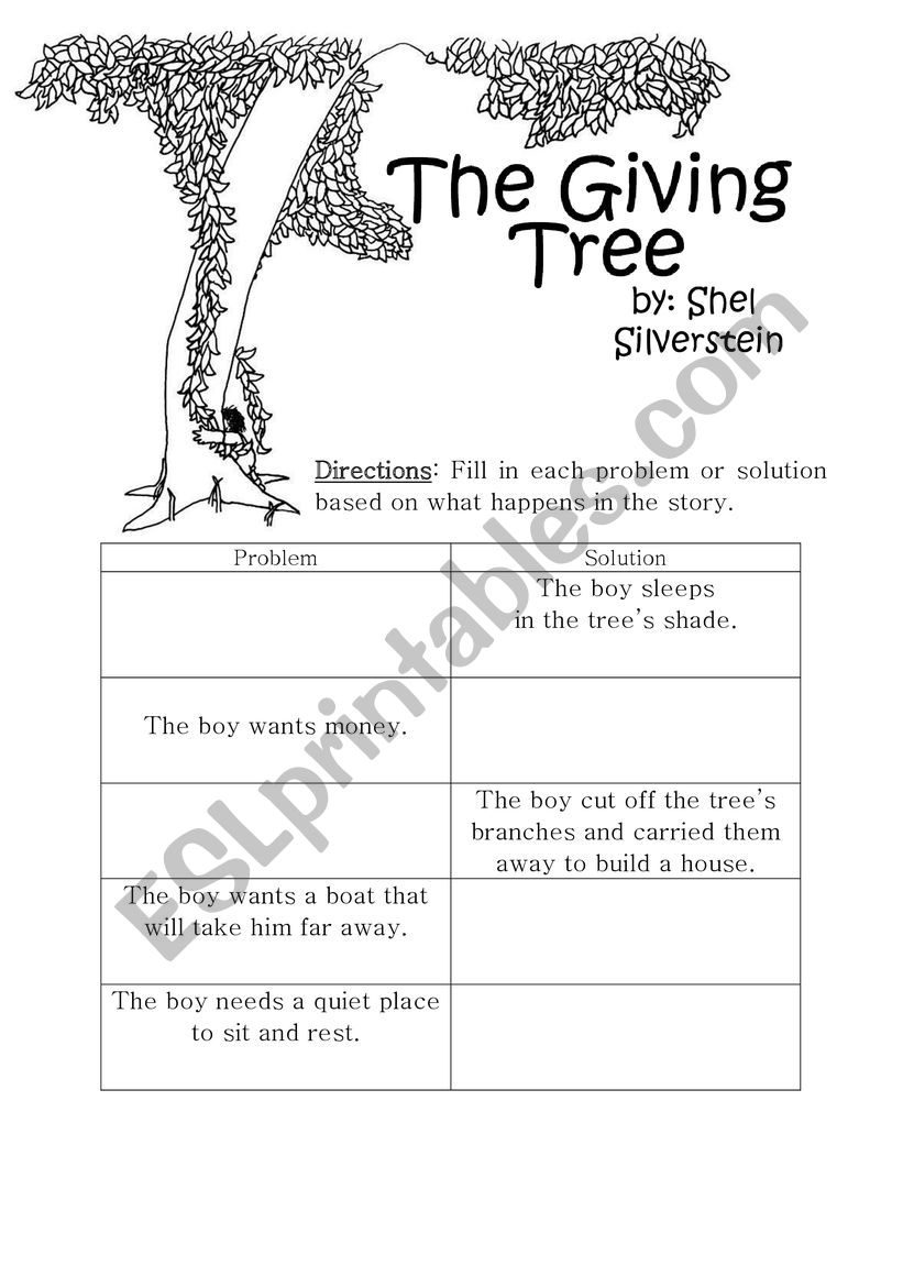 - The Giving Tree Worksheet - ESL Worksheet By Chburger