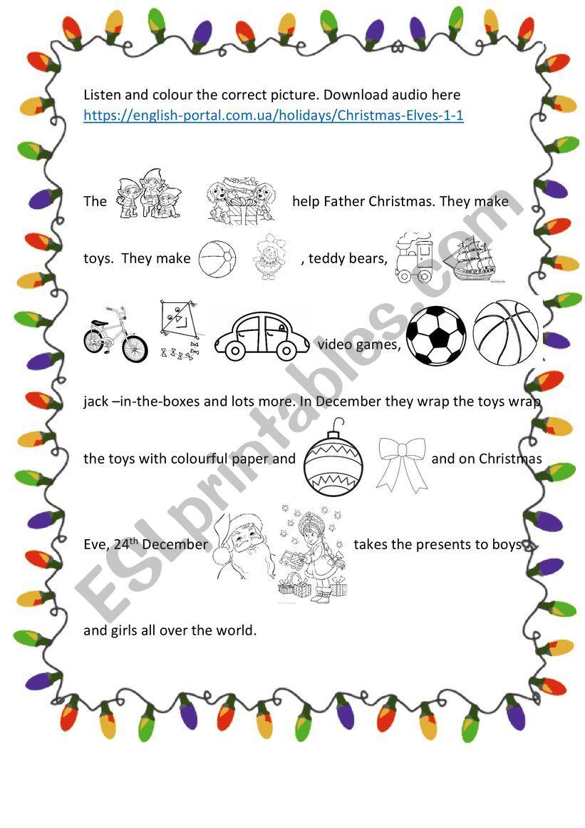 christmas elves worksheet