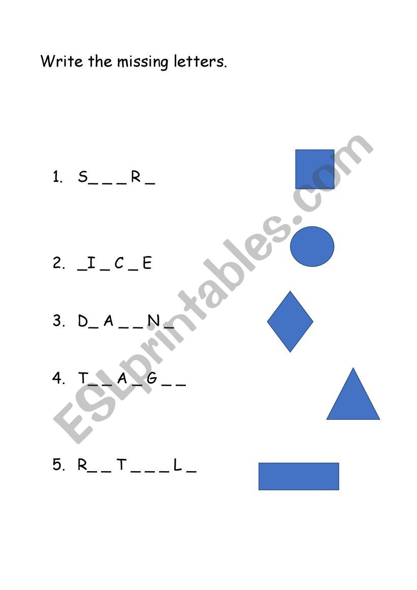 - Shapes And Spelling - ESL Worksheet By Alettandra