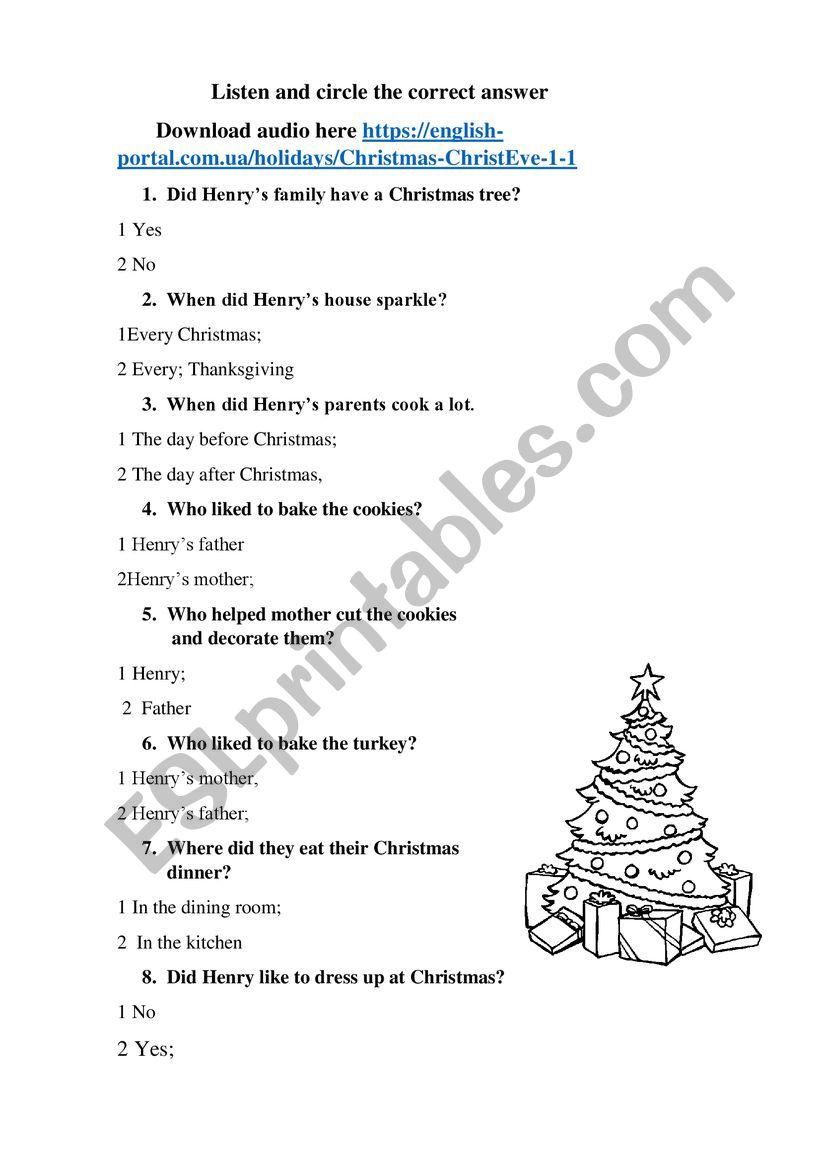 Christmas Eve worksheet