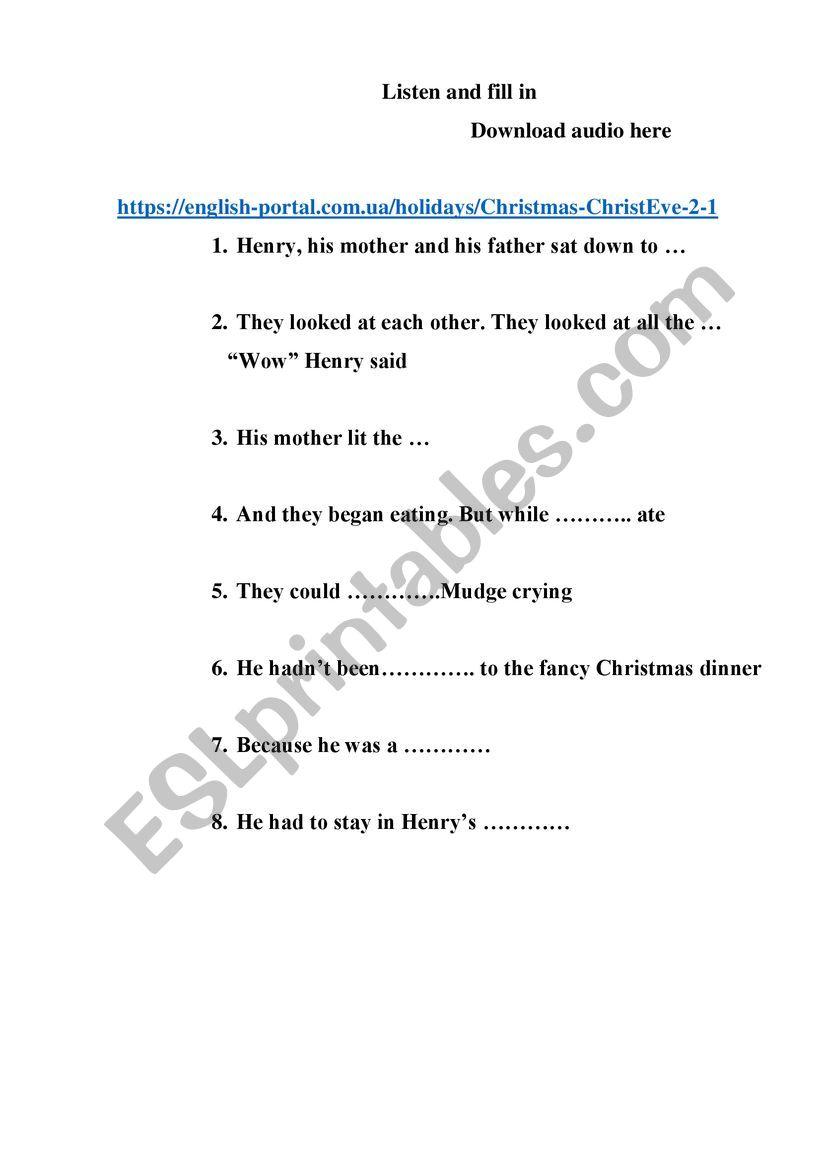 Christmas Eve. part 2 worksheet