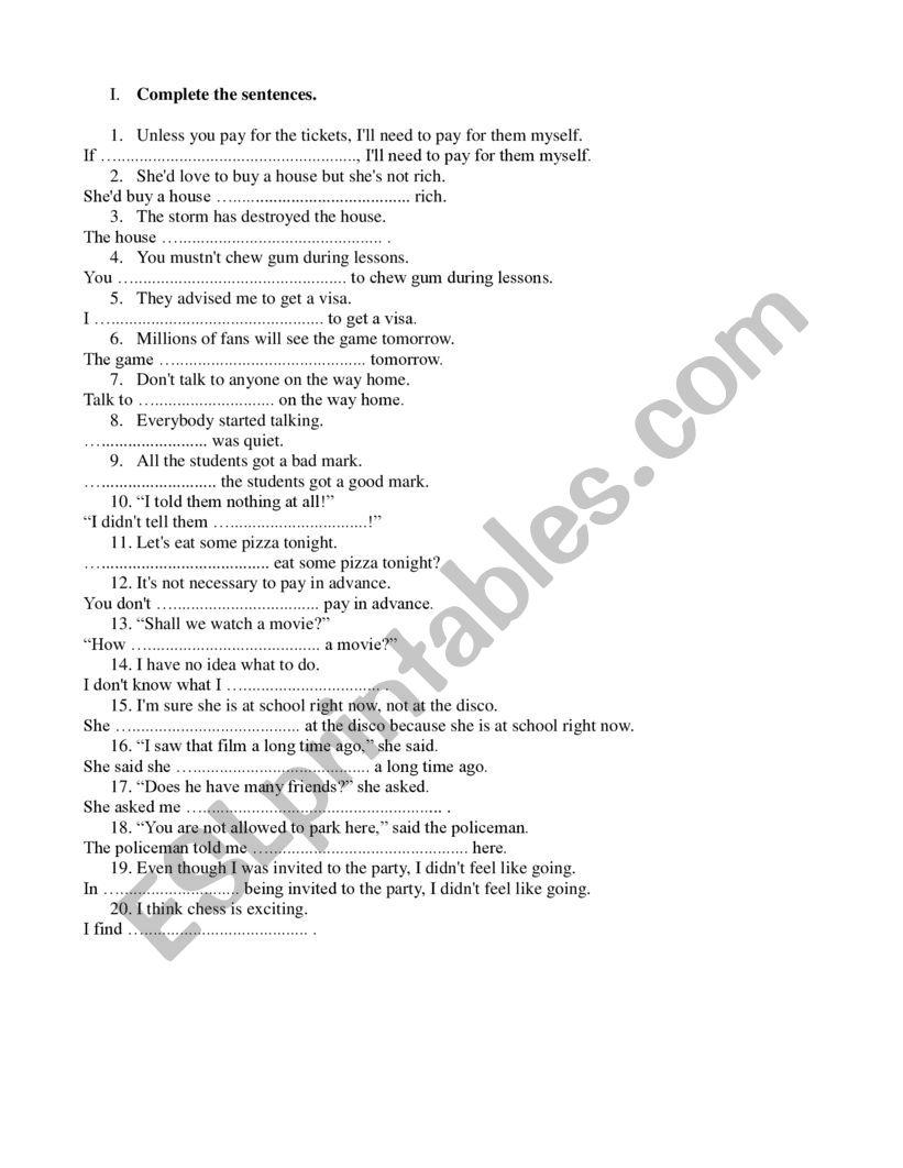Easy sentence transformations worksheet