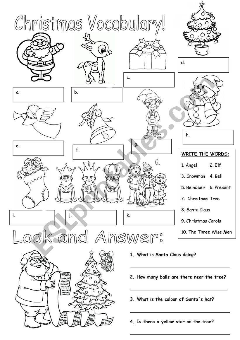 Christmas Vocabulary!! worksheet