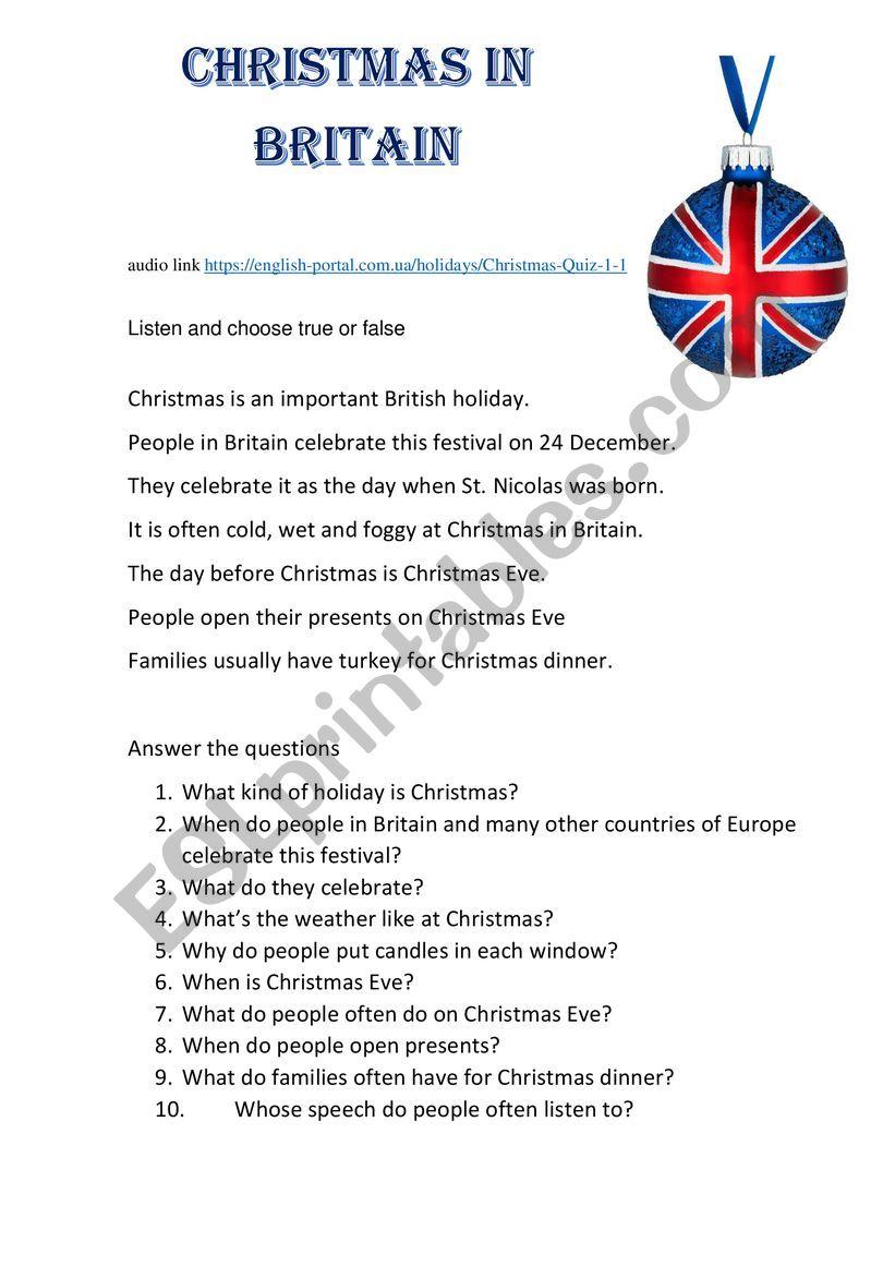 Christmas in Britain worksheet