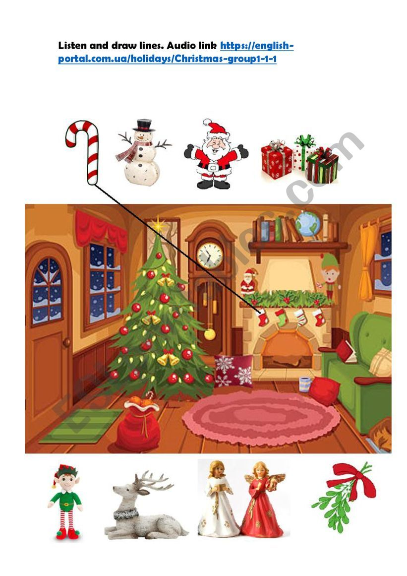christmas prepositions. listen and draw lines