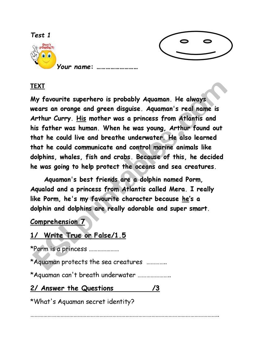 - Test Reading Comprehension Writing (happy Earth 2) - ESL Worksheet
