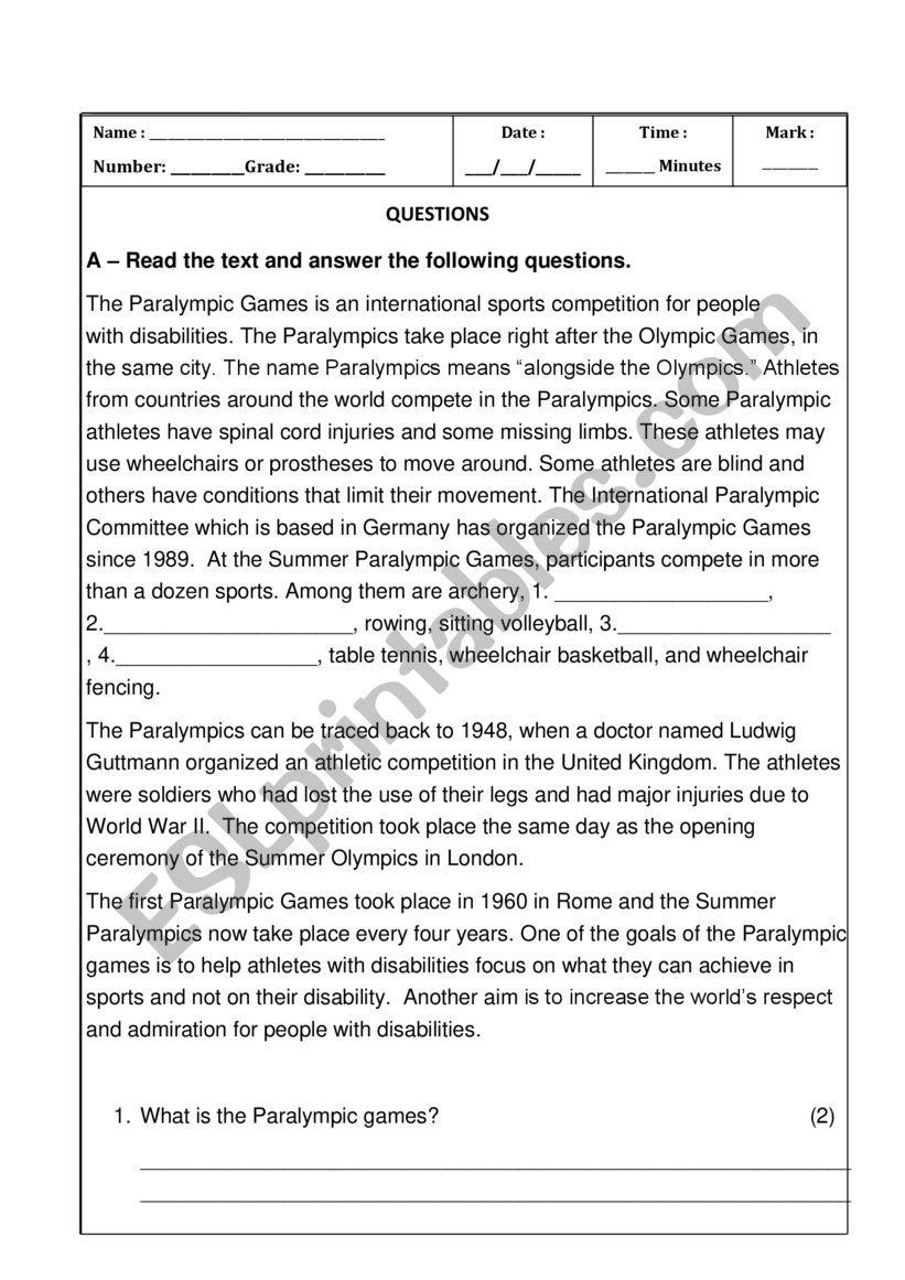 Test Sports worksheet
