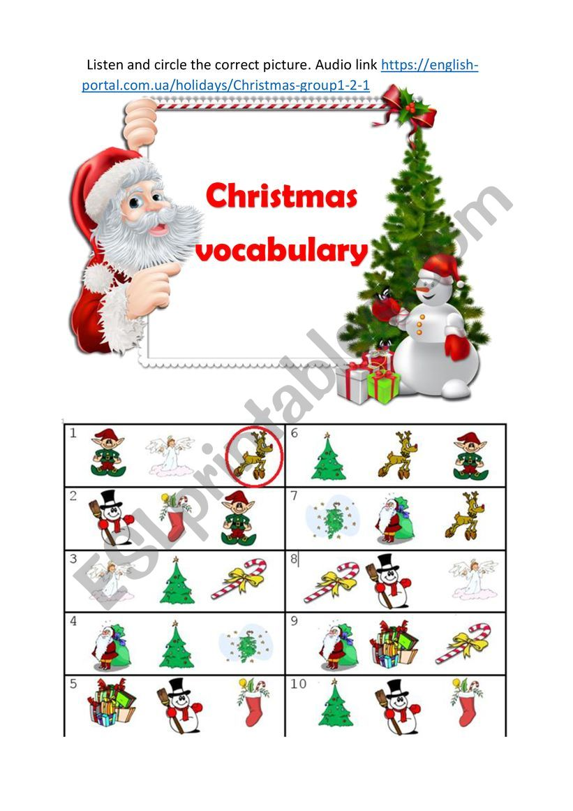 Сhristmas vocabulary worksheet