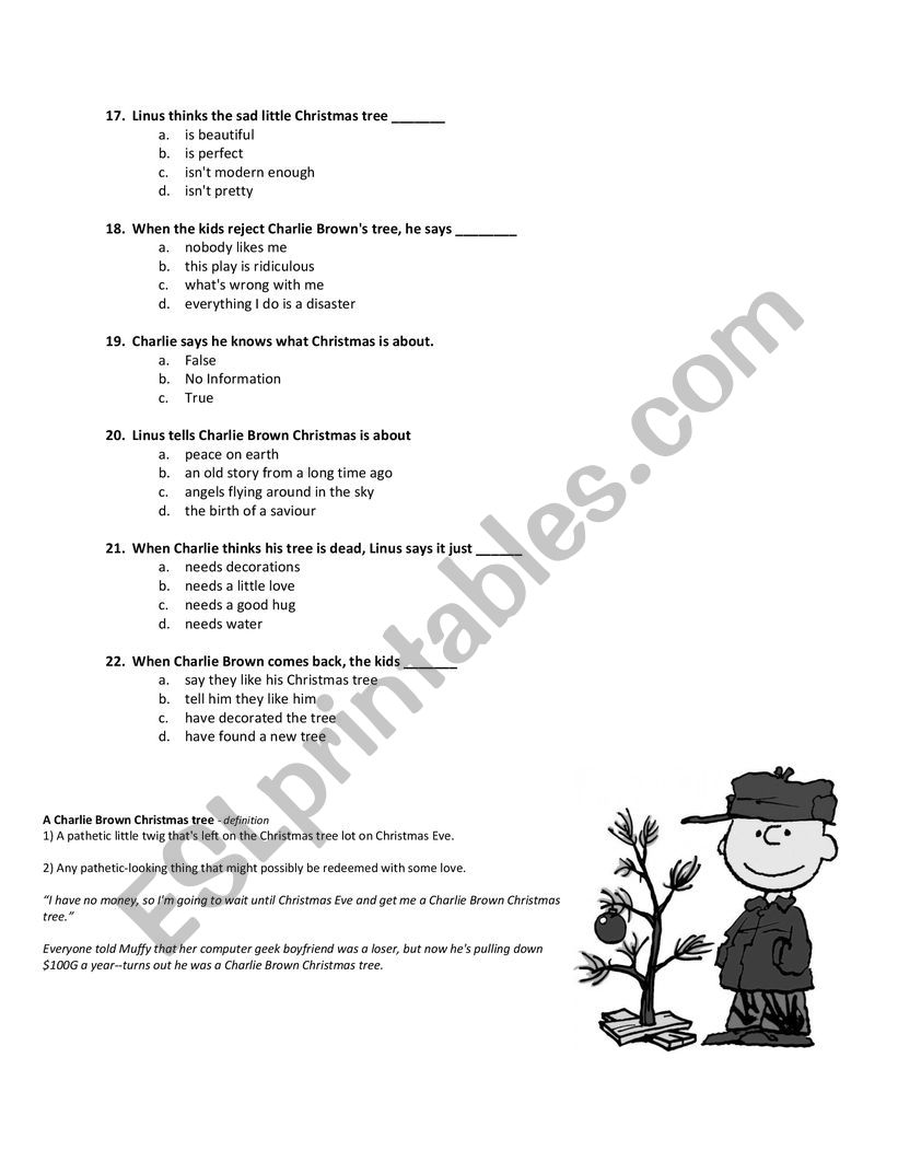 When Is Charlie Brown Christmas On.A Charlie Brown Christmas Esl Worksheet By Mcconvilletony