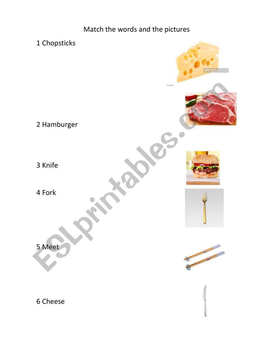 Food and Utensils worksheet
