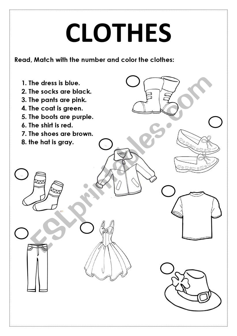 Color And Match The Clothes Esl Worksheet By Mwriax