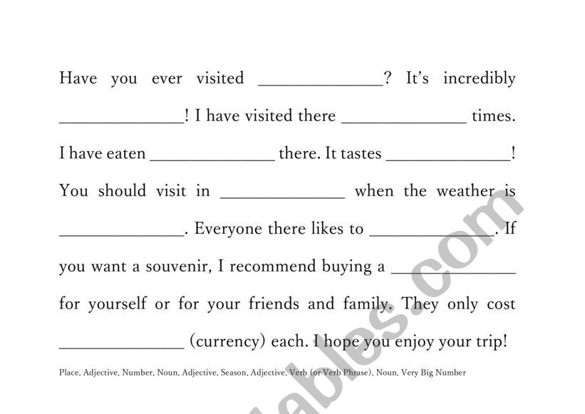 Have You Ever...? MAD LIBS worksheet