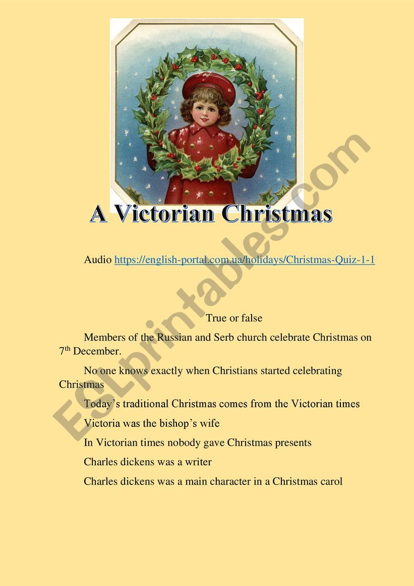 A Victorian Christmas. listening activity.