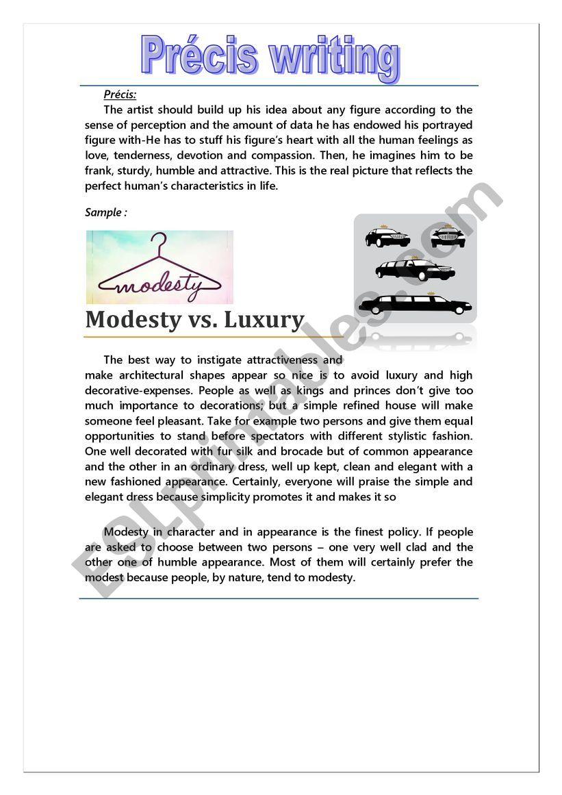 précis writing - ESL worksheet by humble19