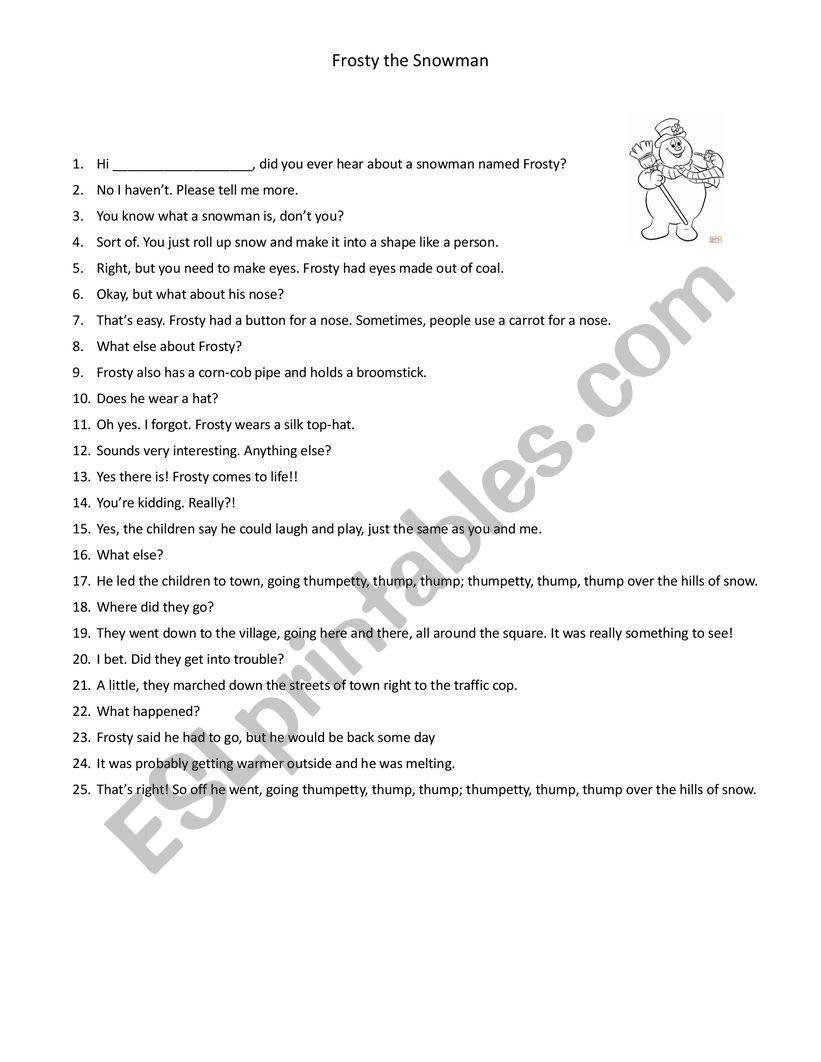 Frosty the Snowman Dialogue worksheet