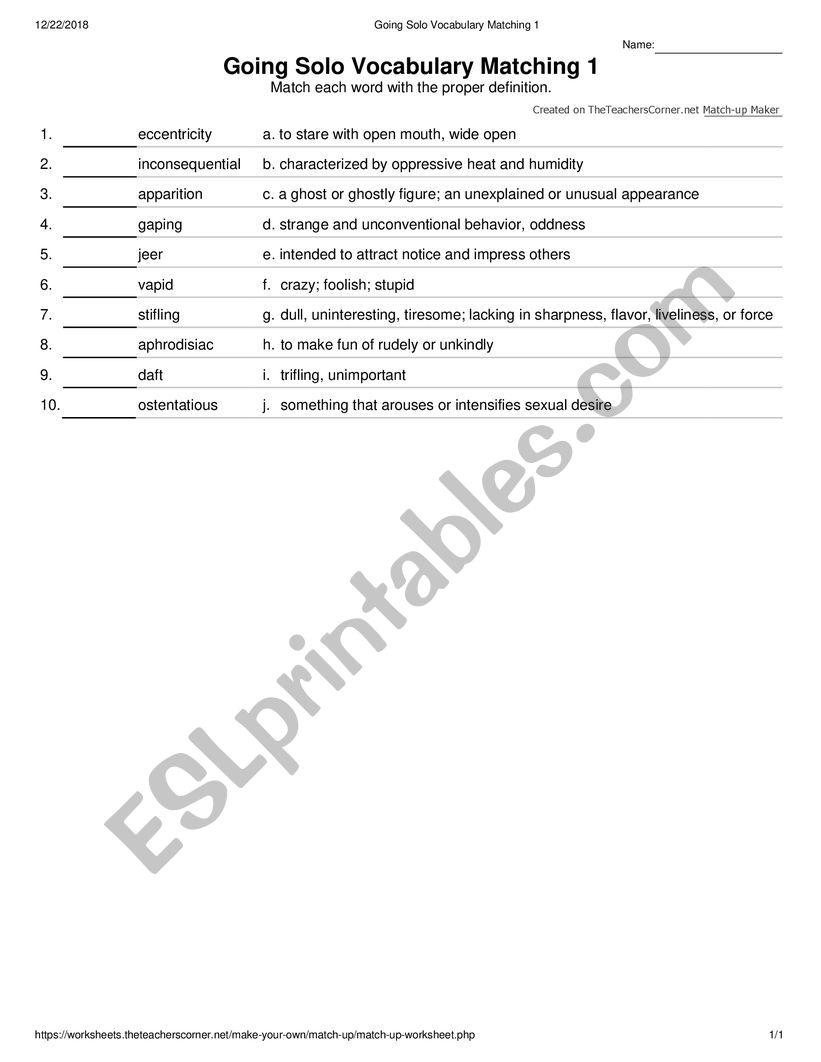 Going Solo Vocabulary Matching 1 - ESL worksheet by grfl