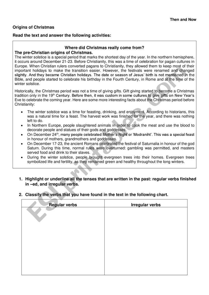 Christmas Then and Now worksheet
