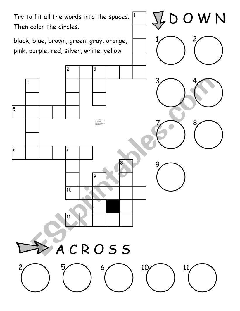 Color Crossword worksheet