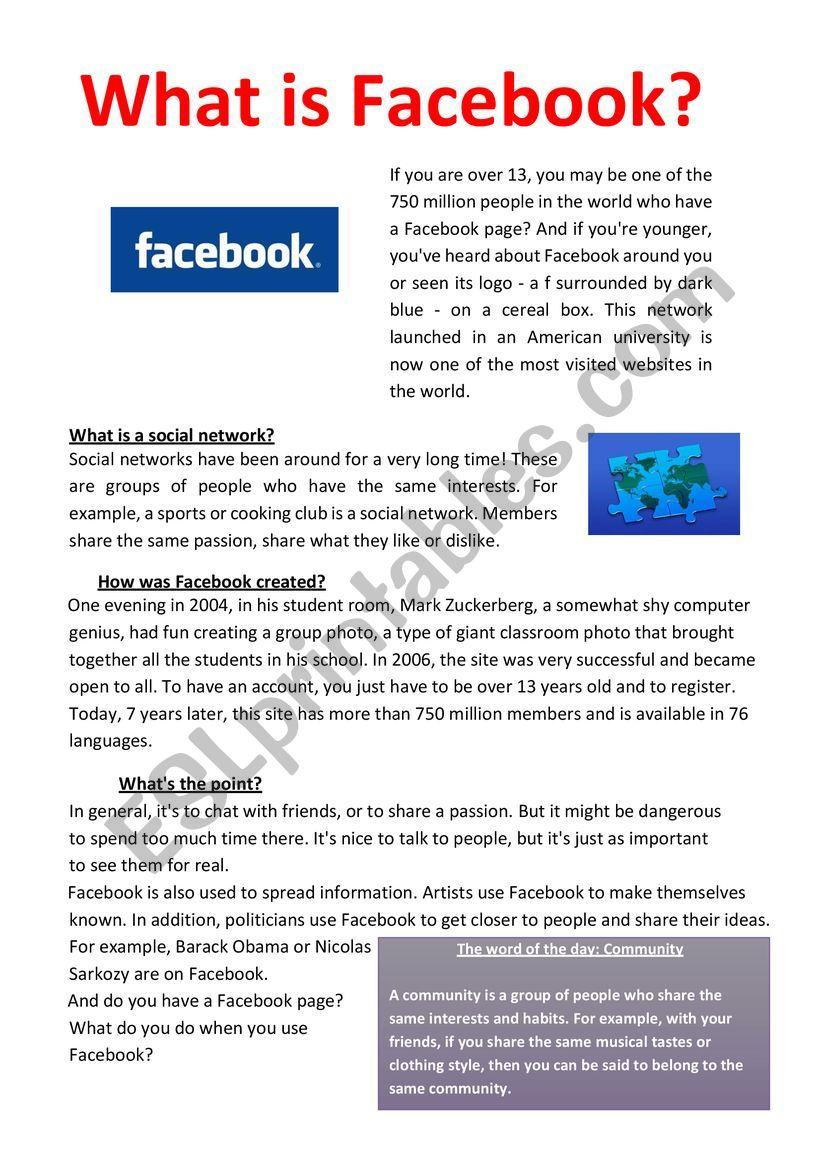 - What Is Facebook ? Reading Comprehension. - ESL Worksheet By Mayekilad