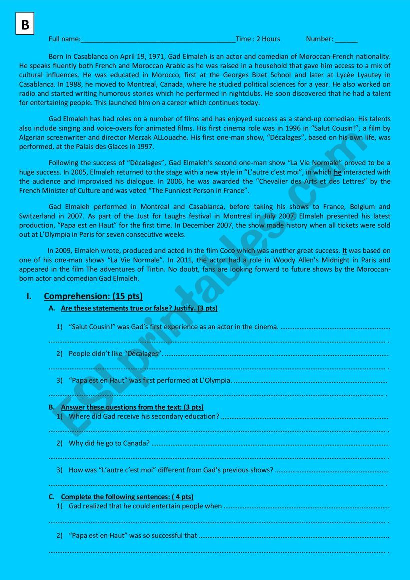Global test second year bac first semester ticket to English
