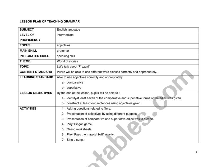 Grammar Lesson Plan - ESL Worksheet By Nana14