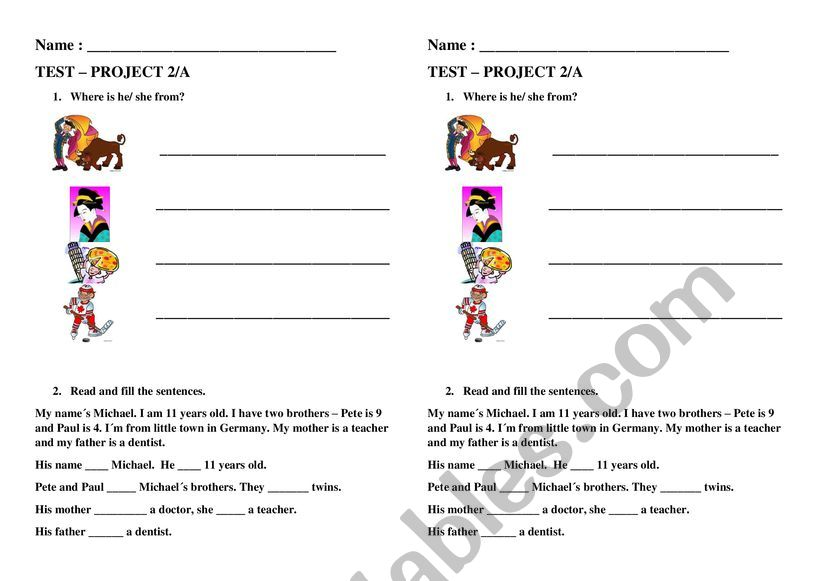 Test Project 2A worksheet