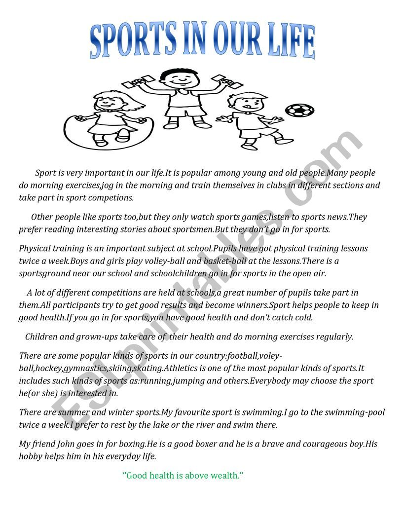 SPORT IN OUR LIFE worksheet