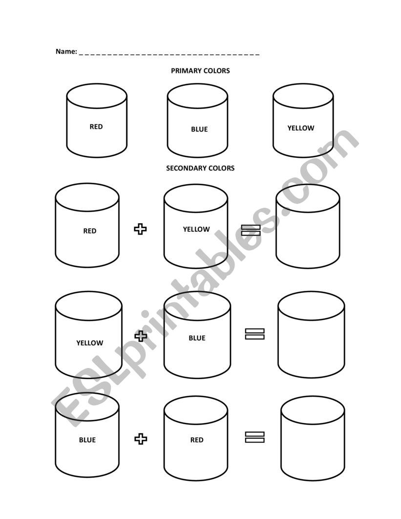 Primary and Secondary colors - ESL worksheet by RoxaB