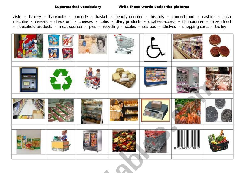 supermarket vocabulary worksheet